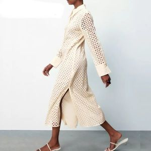 The Santori Eyelet Cotton Luxury Shirt Dress